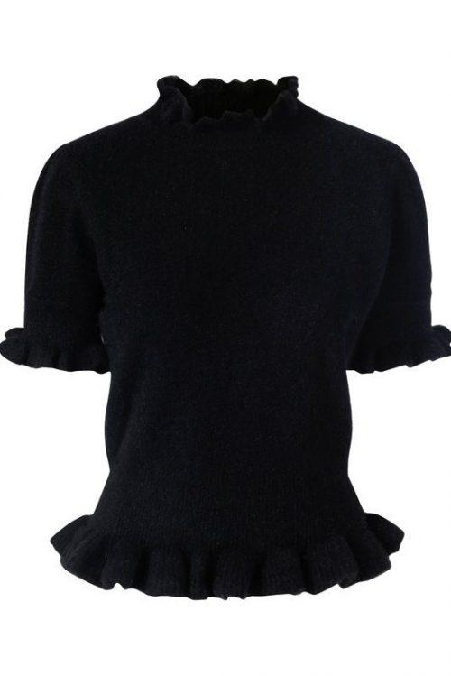 Sort alpakka kort genser med 3/4 erm og volangkant Ella&Il - villa