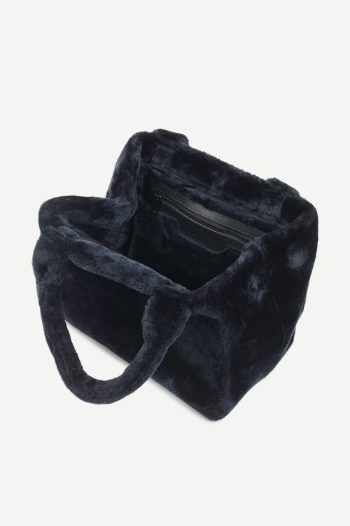 Oliven eller midnight blue imitert mink liten bag Samsøe - 12855 hille bag