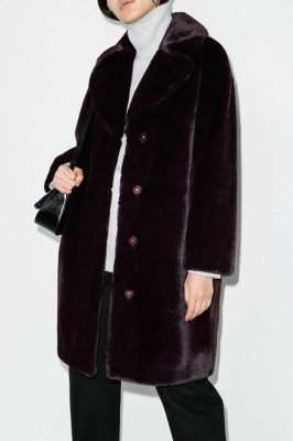 Dark burgunder faux fur soft teddy kåpe Stand - 61137-9070 camilla coat coocoon soft teddy