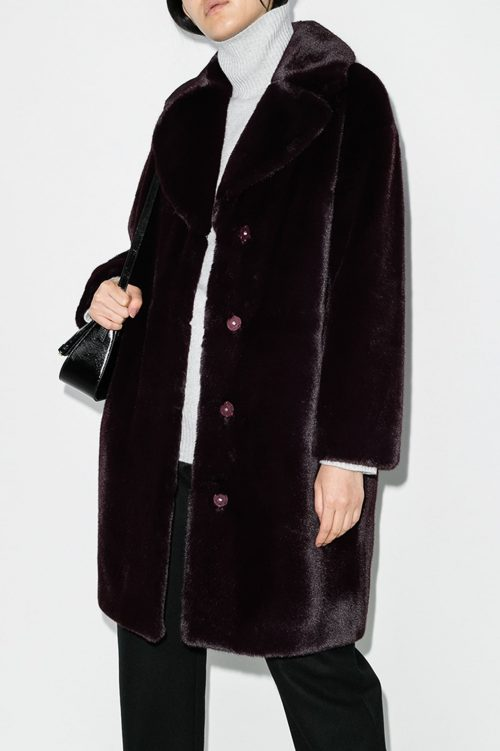 Dark burgunder faux fur soft teddy kåpe Stand - 61137-9070 camilla coat coocoon soft teddy