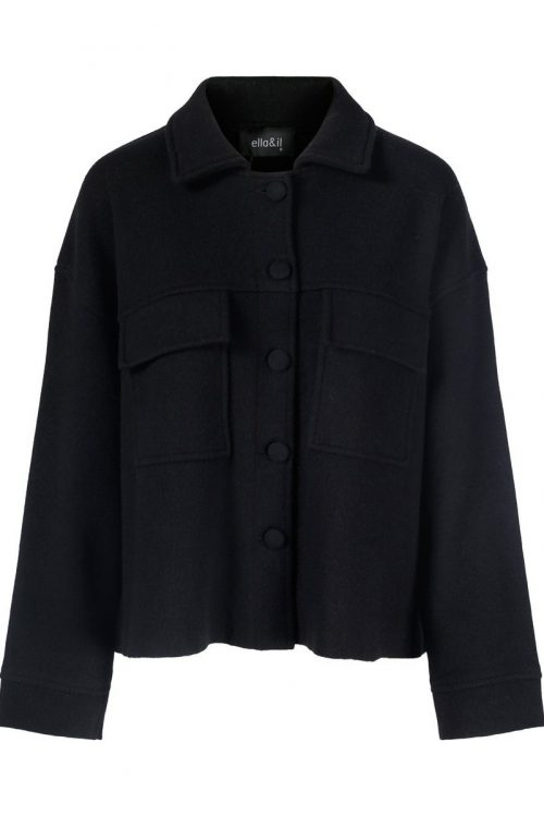 Sort merino oversized blazer med brystlommer Ella and Il - brita