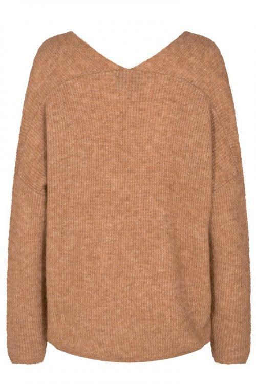 Gråmelert, sort, bringebær eller camel ullmix v-genser Mos Mosh - 134540 Thora V-neck Knit
