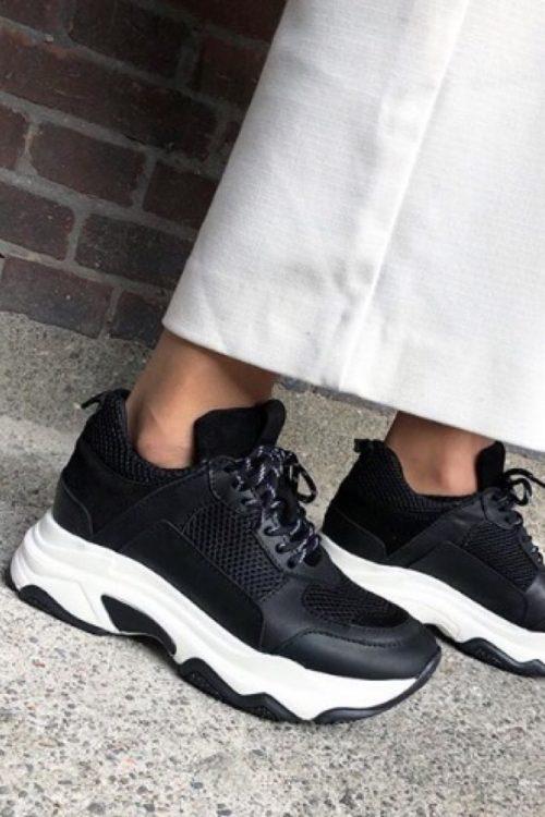 Sort/hvit suede velvet leather sneakers Shoe Biz - Rad