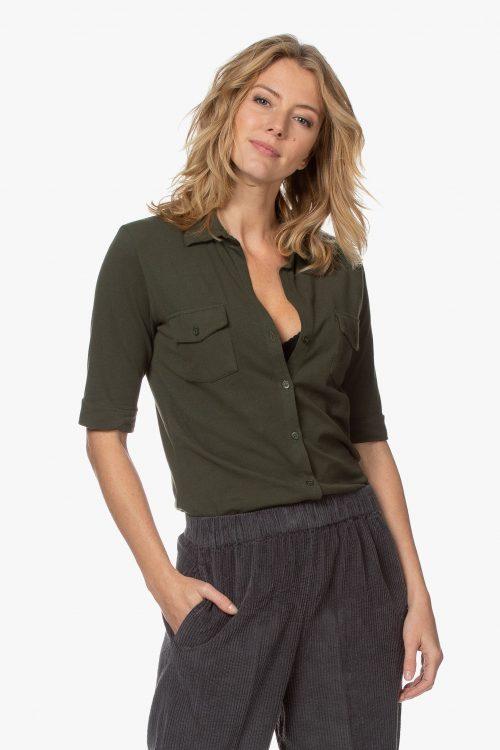 Forrest green eller aubergine vasket kvalitet signatur skjorte m kort erm Majestic - M090-fch-014