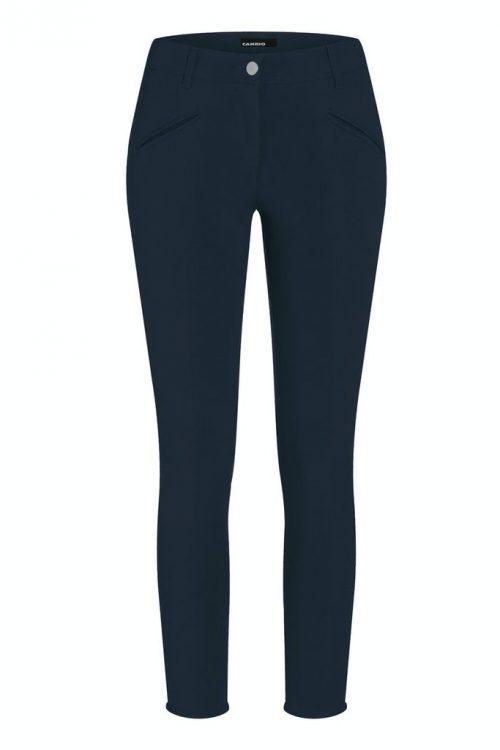 Marine bomullstrech bukse med skrålommer og liten splitt i siden Cambio - 8122 0266-00 rachel 28