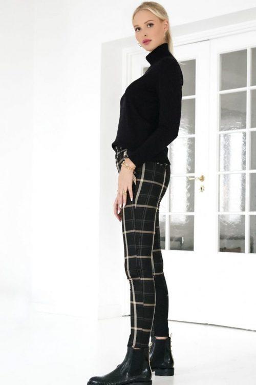 Sortbeigerutet dressbukse med tilhørende jakke Mos Mosh - 135540 Perry Bento Blazer / 135541 Milton Bento Pant Ankle