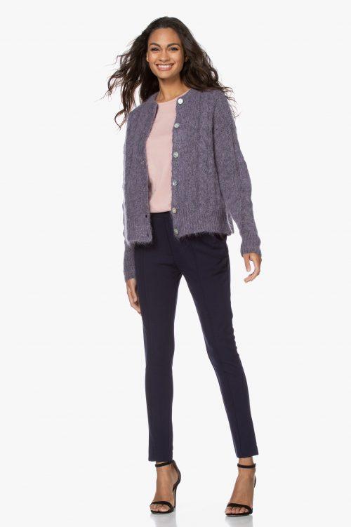 Purple melange mohairmix cardigan med kabelstrikk American Vintage - dol19a