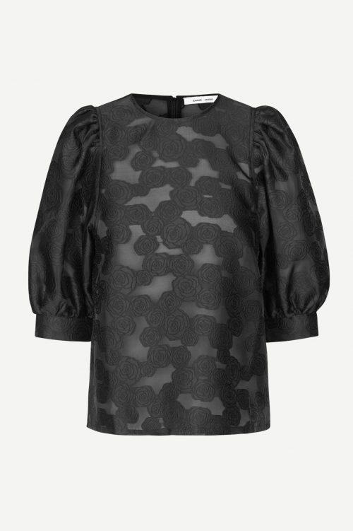 Sort Jacquard bluse med burnout mønster Samsøe - Celestina blouse 12939