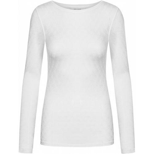 Hvit, offwhite eller sort strikket silke/viskose topp med romantisk mønster. En fantastisk basic topp som setter prikken over i´n. Gai+Lisva - Fermi 10599 85% viskose, 15% silke