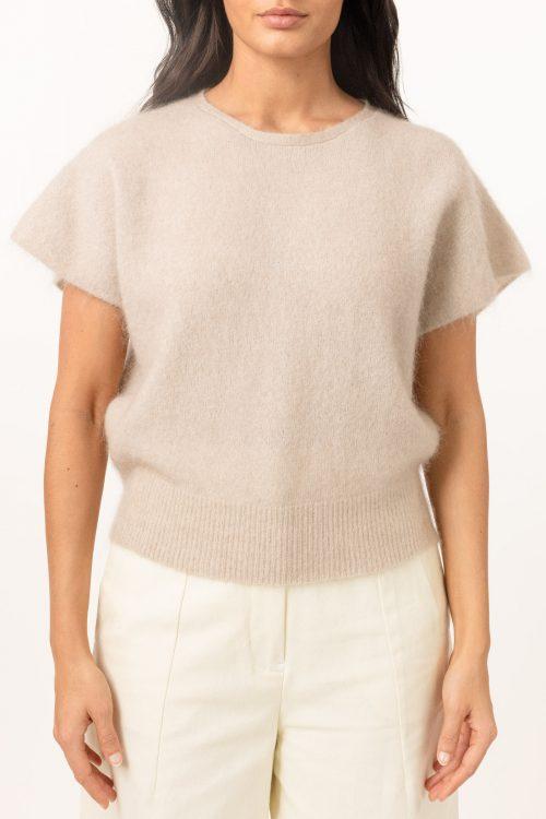 Lys beige eller sort soft mohair topp/vest Cathrine Hammel - soft wide sleeveless top