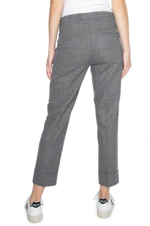 Gråmelert eller koksmelert flanell klassisk bukse med oppbrett Cambio - 8416 0300-00 krystal 27