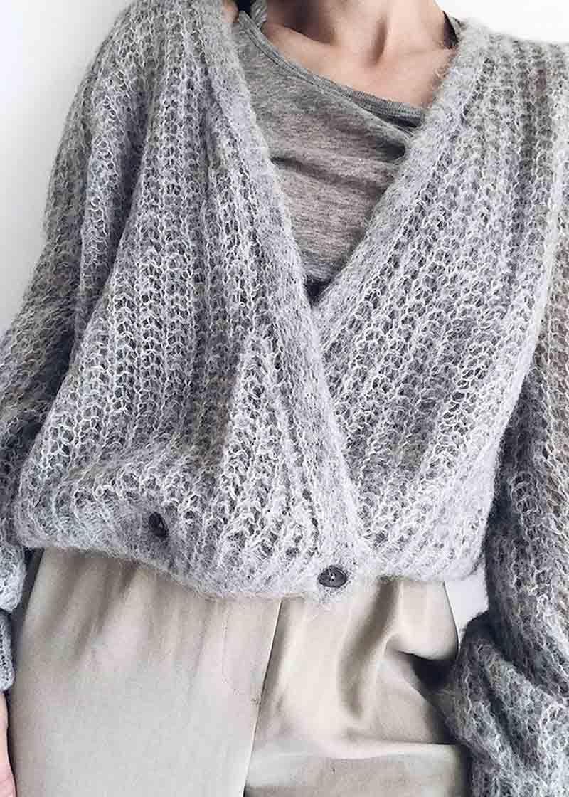 Dark grey melange eller offwhite cardigan Gai+Lisva - freyja