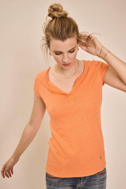 Nektarin eller winter moss lin/bomull t-shirt Mos Mosh - troy tee ss