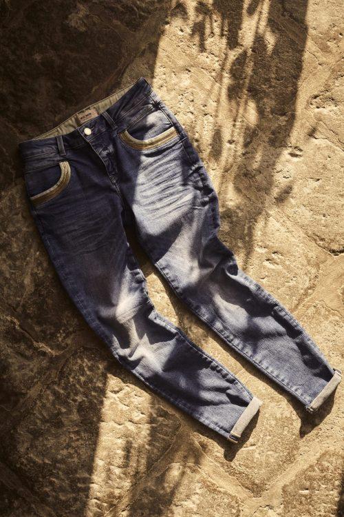 Mid blue jeans med gull- og glidelås-detaljer Mos Mosh - naomi wave jeans regular mid blue