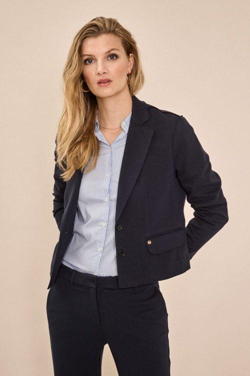 Kort navy pique jakke i blouson-fasong Mos Mosh - 138000 lopez pique blazer