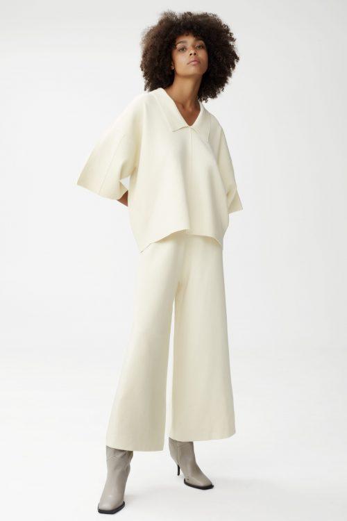 Hvit viskosemix pullover med culottebukse Gestuz - talli pullover / talli culotte