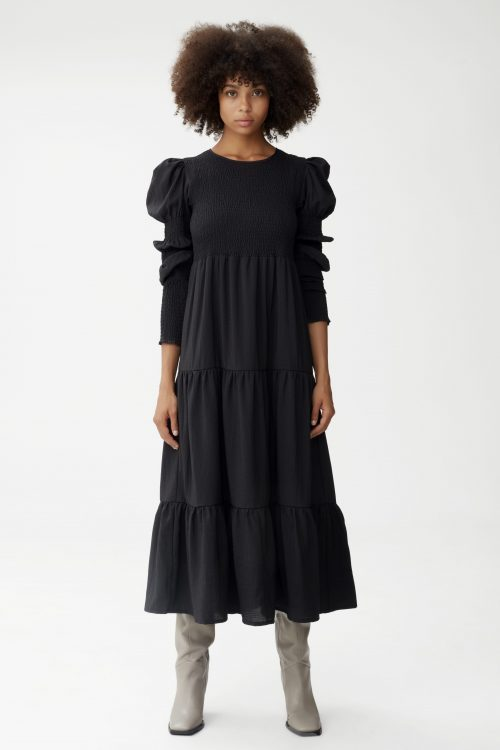 Sort lang viskosemix dramatisk lang kjole Gestuz - mazzi dress