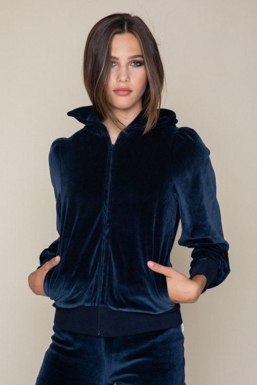 Navy velour hoodie jacket Ella&Il - mim jacket Navy velour vid bukse Ella&Il - mona velour pants