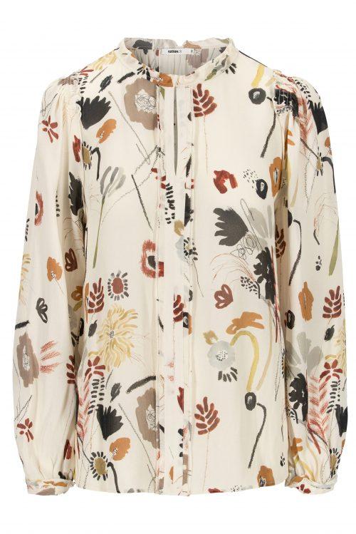 Marocco viskose bluse med stolpe og v-hals Katrin Uri - 406 memory levi blouse