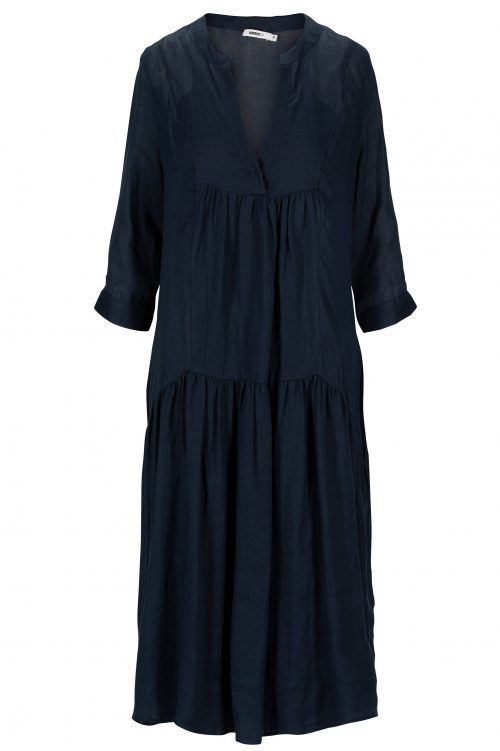 Navy 100% ramie maxikjole Katrin Uri - 630 celeste ramie dress