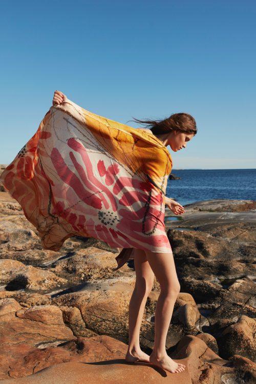 Sunset garden cashmere/ull/bomull skjerf Katrin Uri - 959 Mål: 1*2 meter