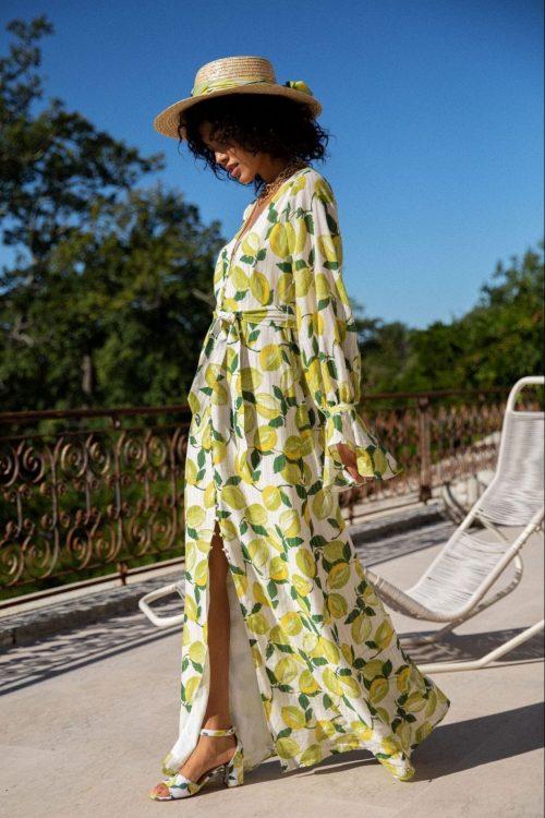 Sitronmønstret lang bomull kjole med belte Fabienne Chapot - outshine the bride dress