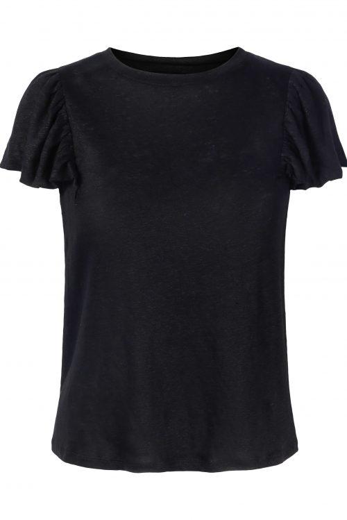 Hvit eller sort strikket lin top med volangskuldre Ella&Il - joselle linen top