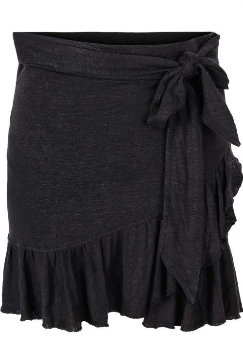 Sort strikket lin kort omslagsskjørt med kappe Ella&Il - juliette linen skirt