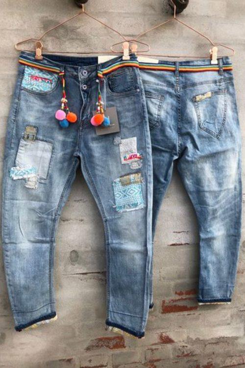 Blue patchwork jeans Cabana Living - DY 660 jeans blue patch