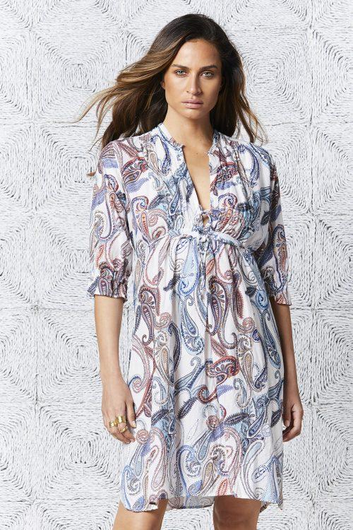 Hvitmønstret bomull kjole OneSeason - menorca audrey