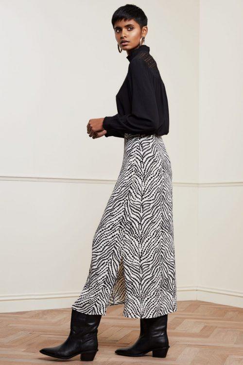 Hvitsort hjertemønstret zebrastriper langt skjørt Fabienne Chapot - laurie skirt
