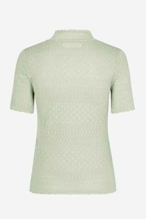 Mintgrønn trendy blondestrikket topp med poloaktig hals Samsøe - 10978 rho t-shirt
