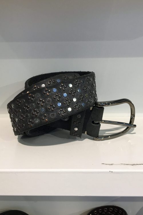 Sortgrå belte 'Tessa black' belte med studs b.belt - BB0719L79 tessa black color 0790
