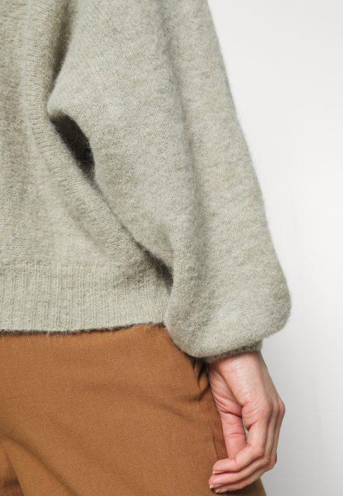 Lindegrønnmelert alpakkamix genser med poseerm American vintage - east18e