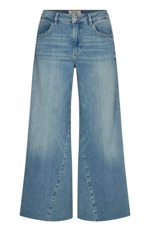Lys vasket slitt vid culotte jeans Mos Mosh - 137240 reem swift