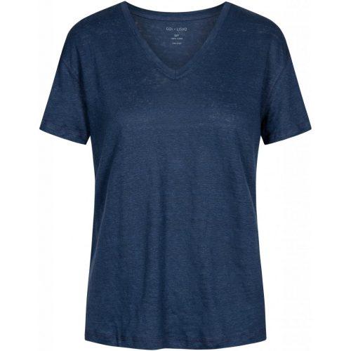 Navy, sort eller hazy brown 100% lin t-shirt med v-hals Gai&Lisva - 10228 sif v-neck