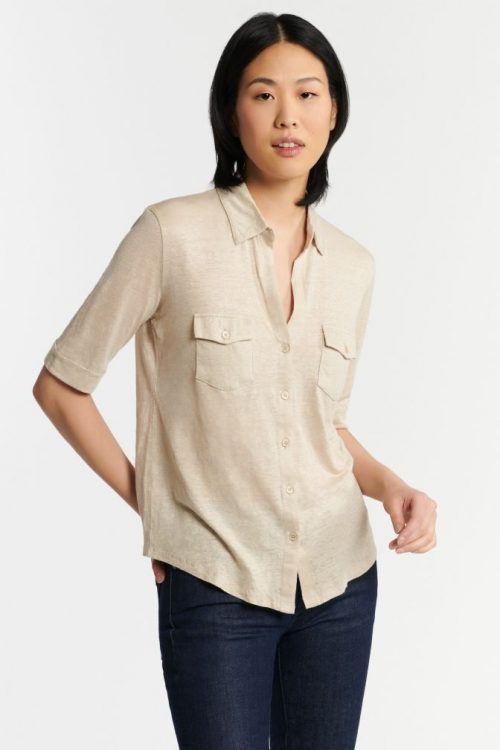 Sandfarget kortermet linskjorte med brystlommer Majestic - m011 fch 014