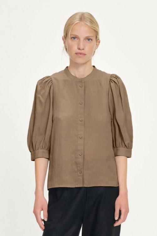 Dusty blue, hvit eller caribou tencel/lin bluse med puffermer Samsøe - Mejse shirt 12771