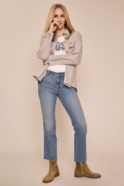 Flare cropped jeans med ton i ton broderi ved lomme og råkant Mos Mosh - 138860 Ashley Braid Jeans