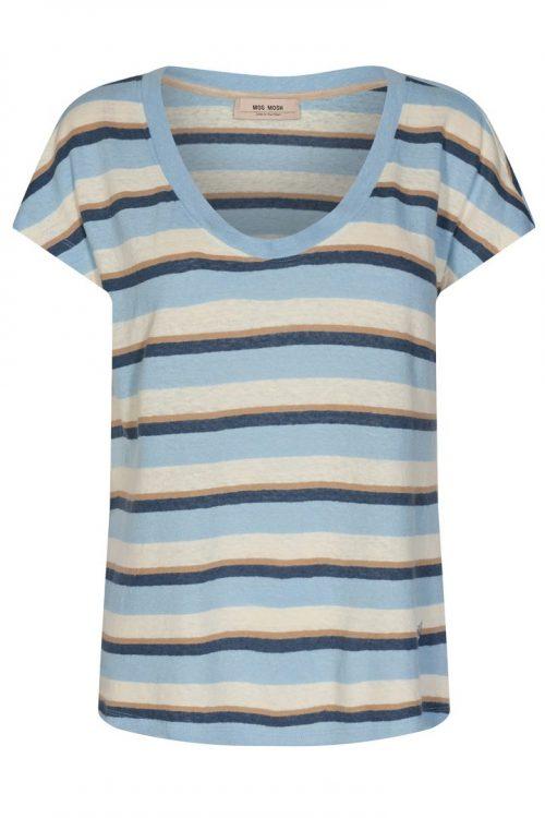 Lyseblåstripet lin/bomull t-shirt Mos Mosh - 138650 Scarlett O-Neck Stripe Tee