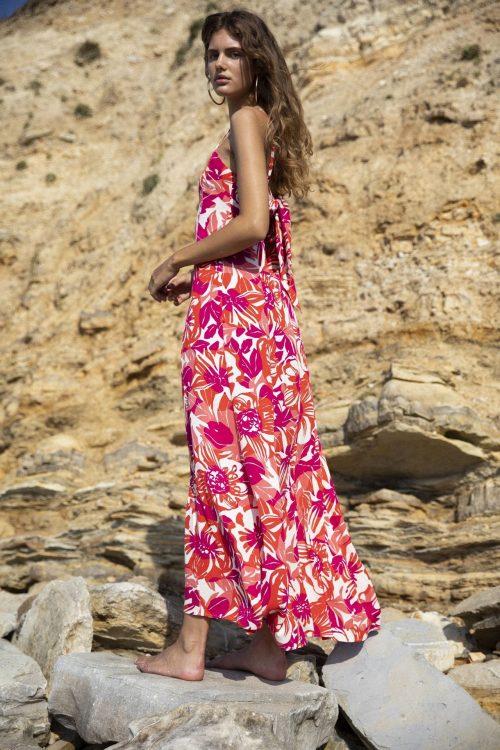 Rødmønstret viskose lang kjole med spagettistropper og knyting bak Fabienne Chapot - sunny maxi dress
