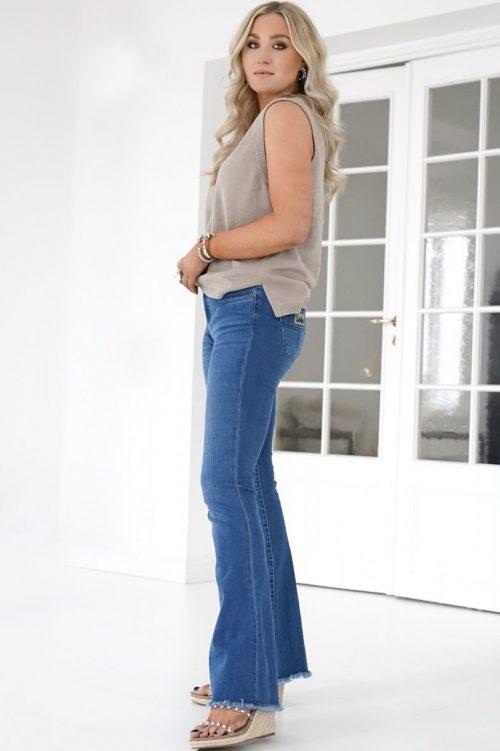 Sterk jeansblå 'Raval' flare jeans med frynser Lois - 2384-6415 raval lecross saphire L30/L32/L34