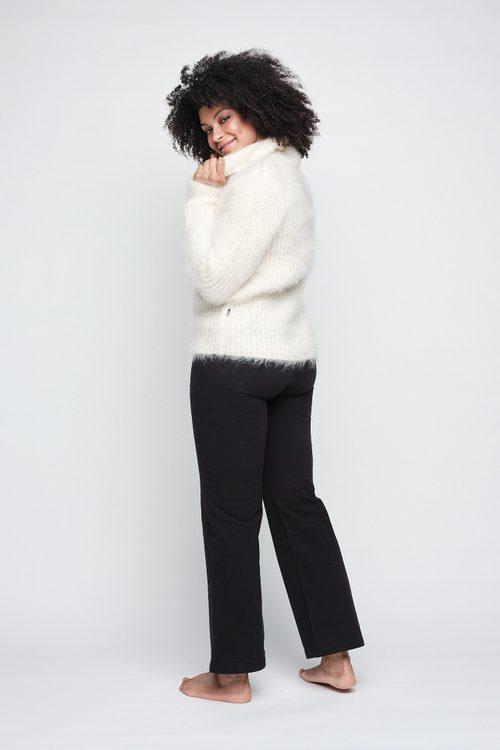 Varm beige (ikke ecru) mohair/merino chunky genser med høy hals og glidelås Ella&Il - love