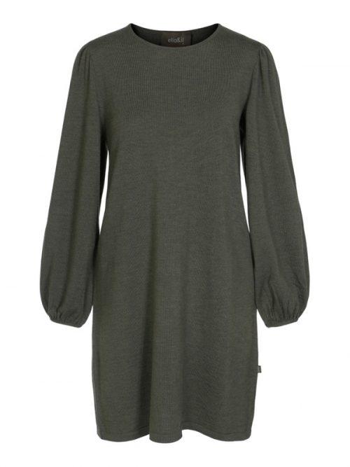 Grønn 100% merino strikket kjole med ballongermer Ella&Il - fri merino dress