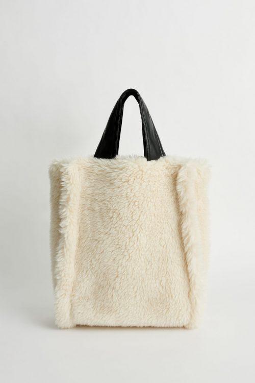 Pea green eller offwhite fuskepels stor veske Stand Studio - 61473-9450 leia bag wool blend fur
