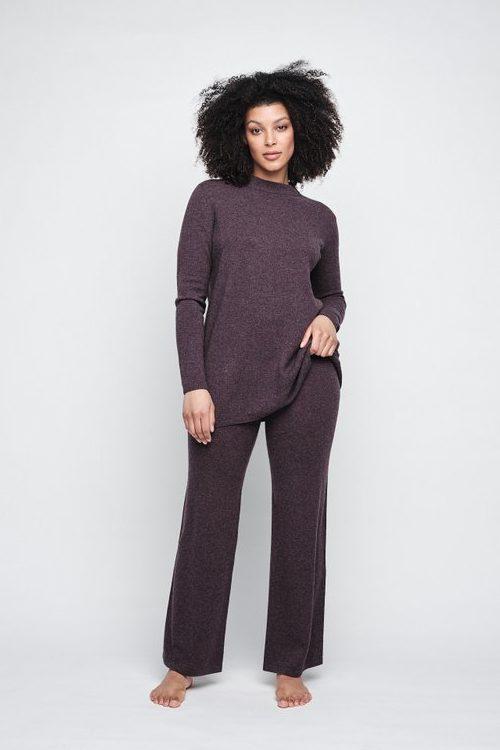 Grønn (ikke plomme) strikket cashmere/merino oversized genser Ella&Il - ellinor wool sweater Grønn (ikke plomme) strikket cashmere/merino vid bukse Ella&Il - sie wool pants