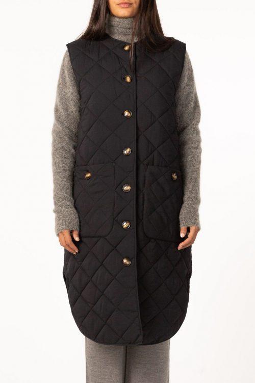 Sort lang vablet vest Cathrine Hammel - 801.221 quilted long vest