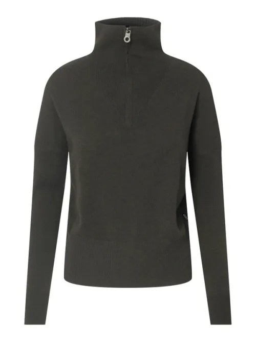 Grønn strikket cashmere/merino kortere genser med glidelås Ella&Il - ellen wool sweater