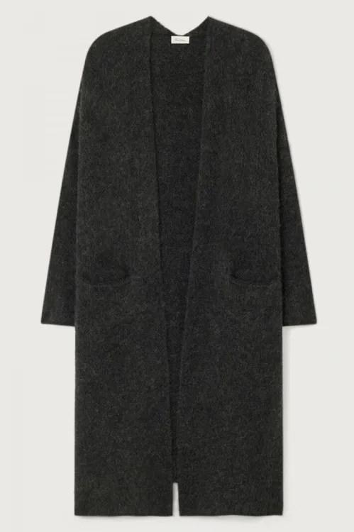 Lang råkul koksgrå alpakkamiks cardigan American Vintage - east19D