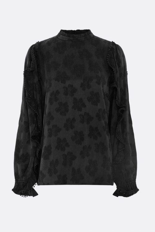 Sort cupro/viskose blank bluse med volangermer Fabienne Chapot - josefine tess topp